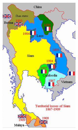 Карта Таиланда конец 19 начало 20 вв