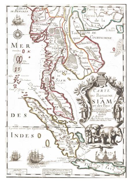 Карта Королевства Сиам 1686 год