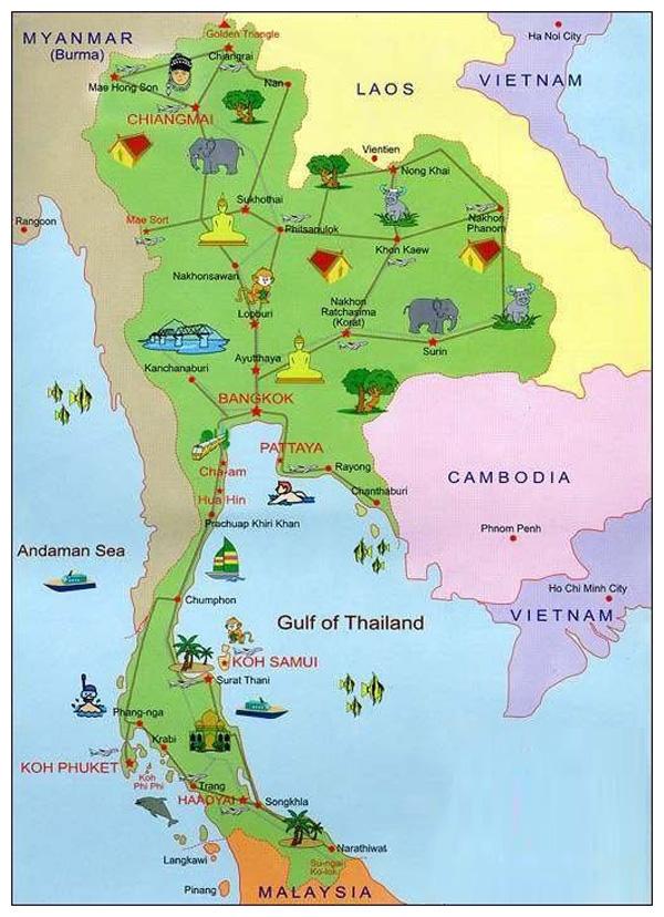 Карта достопримечательностей Тайланда