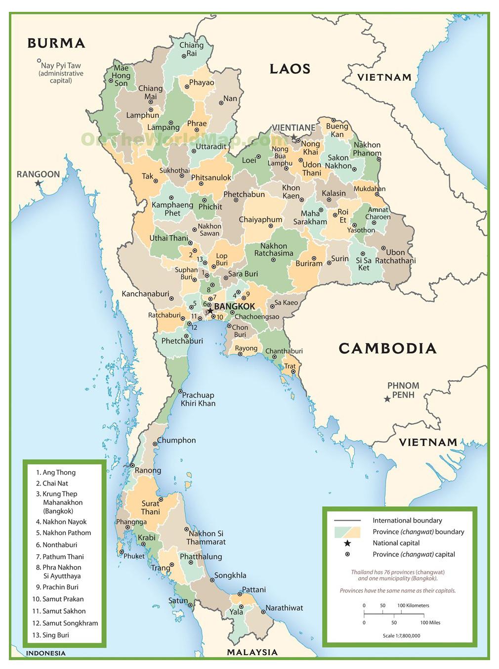 Туристическая карта Таиланда