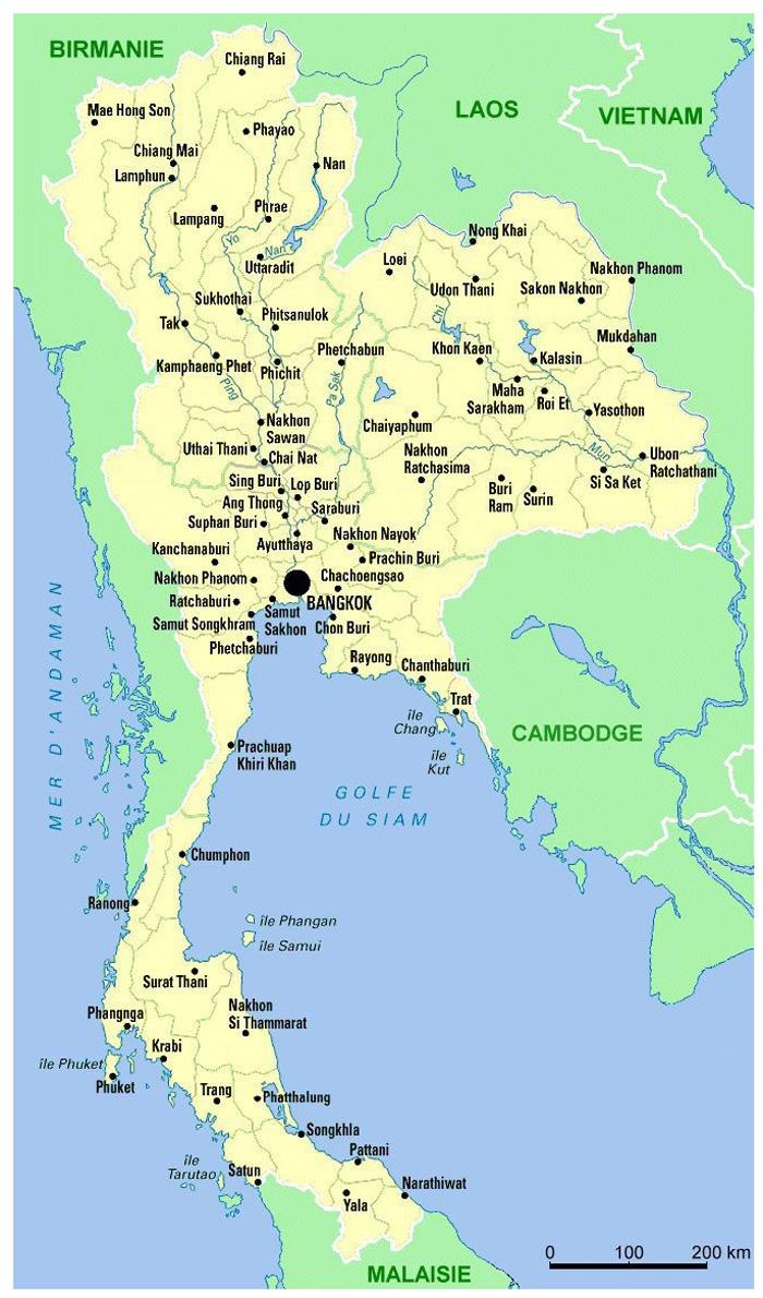 Карта городов Таиланда