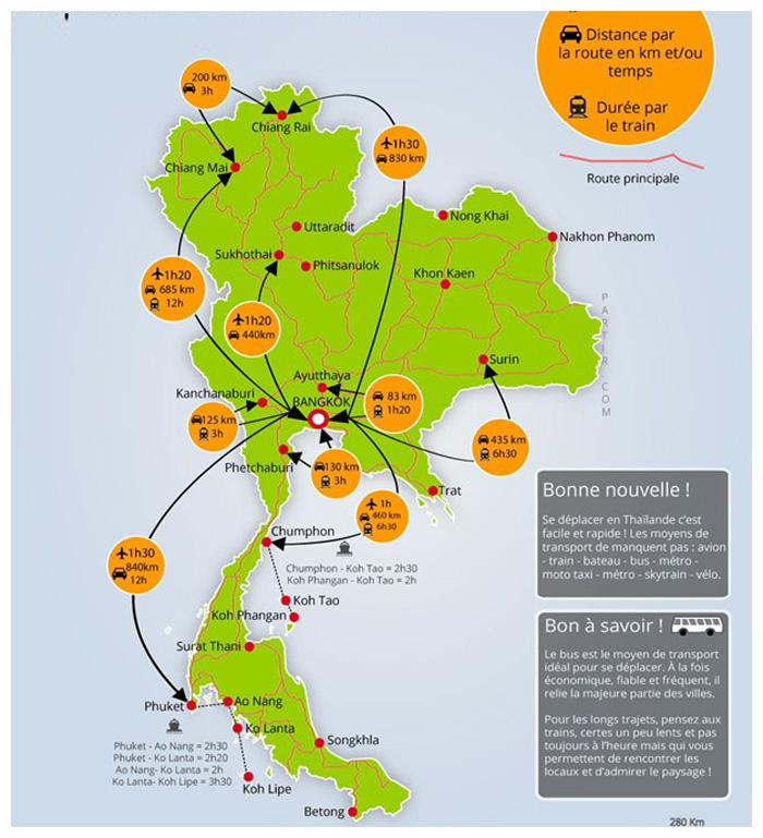 Карта расстояний и маршрутов Тайланда