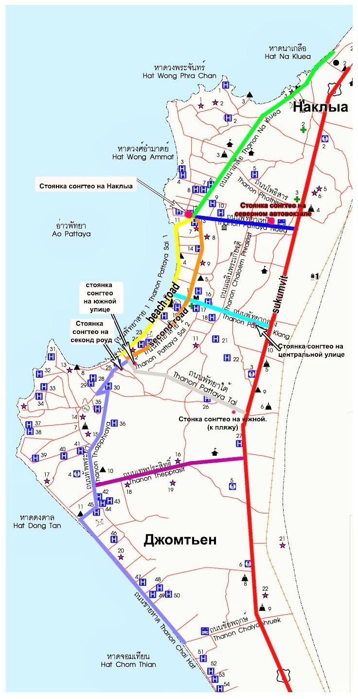 Схема дорог Паттайи