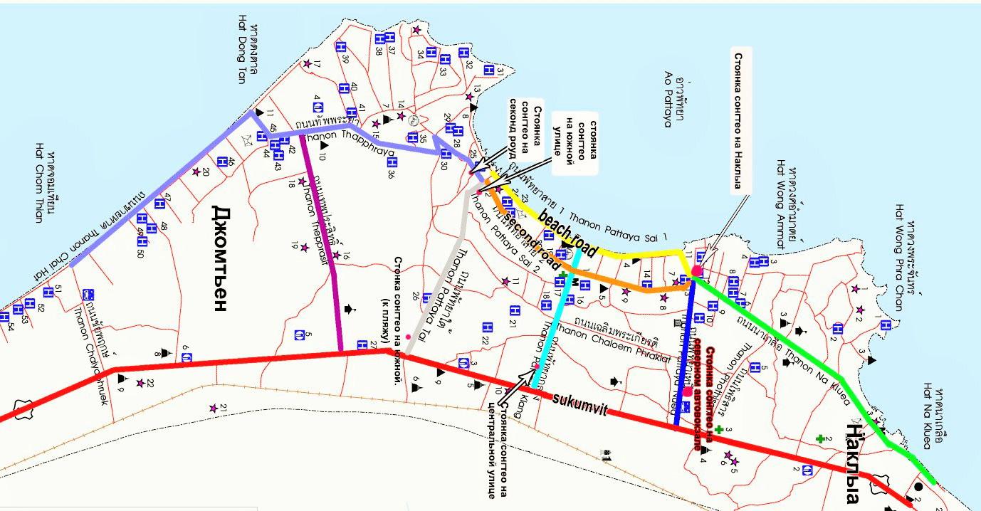 Карта Паттайи с названиями районов