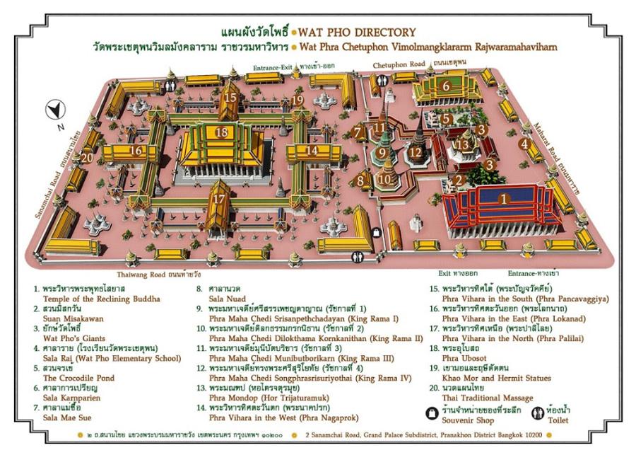 Карта королевского двореца в Бангкоке